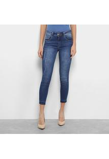 220620e29 ... Calça Jeans Cigarrete Biotipo Skinny Estonada Cintura Média Feminina -  Feminino-Jeans