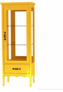 Cristaleira Com Vidro Luiza 1 Porta Amarelo - Urbe Móveis