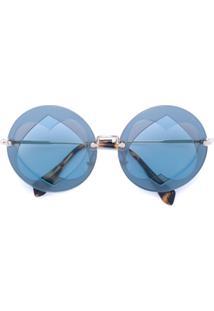 Miu Miu Eyewear Óculos De Sol 'Azure' - Metálico