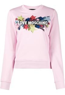 Love Moschino Suéter Com Estampa De Estrela - Rosa