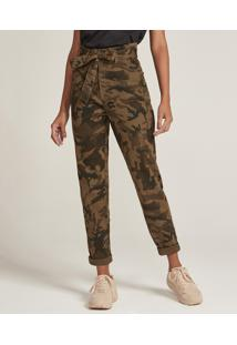 Calça De Sarja Feminina Clochard Estampada Camuflada Verde Militar