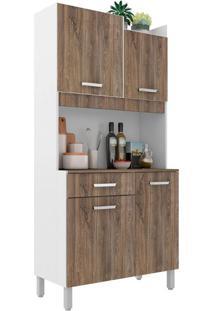 Cozinha Compacta Malaga 4 Pt 1 Gv Branca E Rústico
