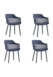 Kit 04 Cadeiras Polipropileno Marcela Azul Marinho - D'Rossi