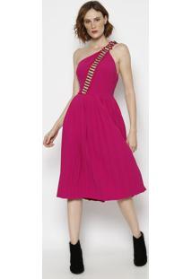 b62810284 ... Vestido Mídi Ombro Único Com Vazado - Rosa- Morena Rmorena Rosa