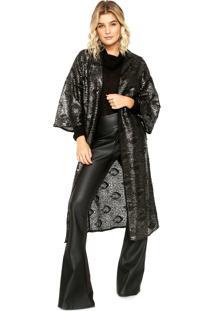 Kimono Colcci Paetê Preto