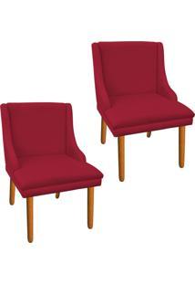 Kit 02 Cadeira Sala De Jantar Liz Suede Vermelho - D'Rossi