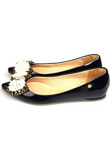 Sapatilha Love Shoes Bico Fino Pedraria E Pérolas Verniz Preto