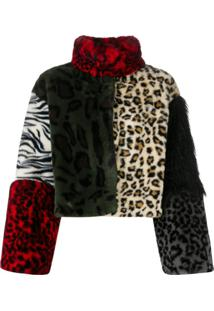 Boutique Moschino Jaqueta Cropped Animal Print - Marrom
