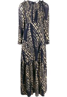 Ba&Sh Vestido Ollie Com Mix De Estampas - Azul