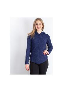 Blusa Feminina De Malha Com Capuz Sumaré 31218 - Amêndoa - G Azul Marinho