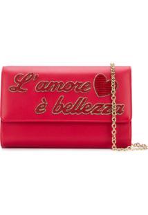 Dolce & Gabbana Clutch 'L'Amour' De Couro - Vermelho