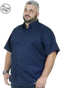 Camisa Plus Size Bigshirts Manga Curta Elastano - Azul Marinho