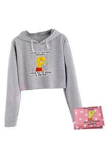 Blusa Moletom Cropped Manga Longa Cinza Lisa Simpson Com Carteira Personalizada