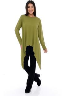 Blusa Assimétrica B'Bonnie Com Bico E M/L Stefani Verde Oliva