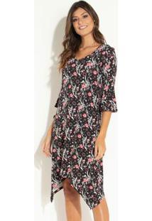 23460aa9f4 Posthaus. Vestido Preto Quintess Clássico Elastano Viscose Curto Decote V  Peplum Floral Soltinho