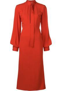 Victoria Beckham Vestido Com Fenda No Decote - Vermelho