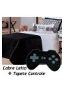 Kit Cobre Leito C/ Tapete Game Retrô Dupla Face Preto/Branco C/ Almofada Solteiro 05 Peças