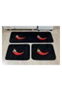 Jogo De Tapete Para Cozinha Pimenta Preto 3 Peças Antiderrapante
