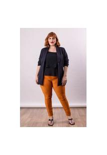 Calça Legging Almaria Plus Size Lady More Bengaline Suede Caramelo