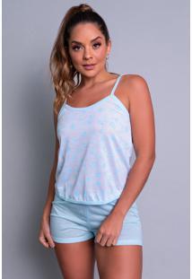 Pijama Mvb Modas Adulto Blusinha Alã§A Short Curto Azul - Azul - Feminino - Poliã©Ster - Dafiti