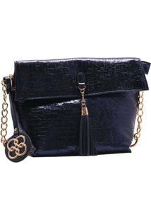 Bolsa Feminina Chenson Metalizado Glam Azul Marinho 3483186