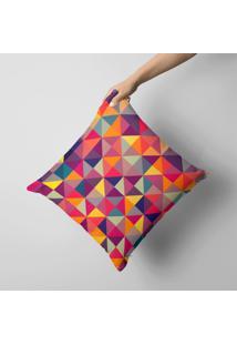 Capa De Almofada Avulsa Decorativa Multi Triangulos Colors 35X35Cm.