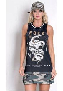Vestido Rock Code Potency - Feminino-Preto