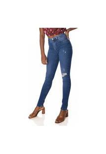 Calça Jeans Denim Zero Skinny Média Com Puídos