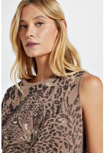 Blusa De Malha Com Silk Localizado Camel Maple