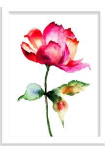 Quadro Decorativo Rosa Abstrata Vermelha Pintura Branco - Grande