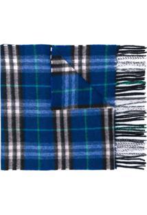 Burberry Echarpe Xadrez De Cashmere - Azul