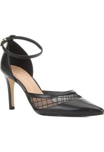 Scarpin Couro Shoestock Tela Bordada Feminina - Feminino-Preto