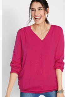 Blusa Decote V Com Elástico Rosa Pink