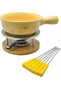Aparelho Para Fondue Em Cerâmica Amarelo - 10 Peças Incasa