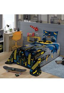 Colcha Matelassê Solteiro Estampado Batman 1,50 M X 2,10 M Com 1 Peça Lepper Azul
