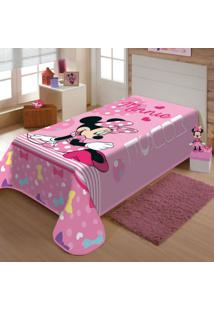 Cobertor Infantil Malha Minnie Laços Poliéster Jolitex 1,50Mx2,00M Rosa