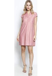 Vestido Listrado- Rosa & Brancovip Reserva