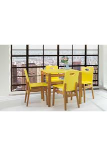 Mesa Com 4 Cadeiras De Jantar Tucupi 80Cm - Acabamento Stain Nozes E Laca Amarelo