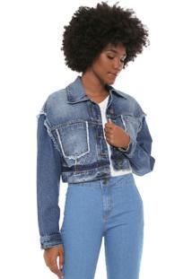 Jaqueta Jeans Triton Cropped Desfiada Azul