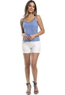 Blusa Lecimar Em Meia Malha Listrada Alto Verão Azul Claro