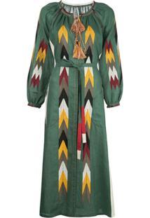 Vita Kin Vestido Mangas Bufantes Com Bordado Geométrico - Verde
