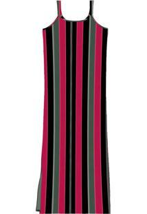 Vestido Midi Listrado Vermelho