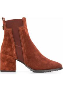 Tod'S Ankle Boot Com Salto Bloco - Marrom