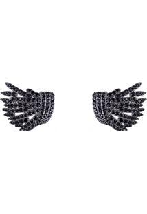 Brinco Obietto Ródio Negro Ear Cuff Asa De Anjo Com Zircônia Negra