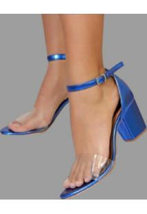 Sandália Delazari Salto Bloco Azul Metalizado Com Vinil Transparente