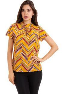 Blusa Kinara Viscose Estampada Decote Gota - Feminino-Amarelo