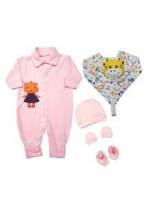 Kit 5 Peças Roupa Para Bebê Barato Menina Menino Enxoval Rosa