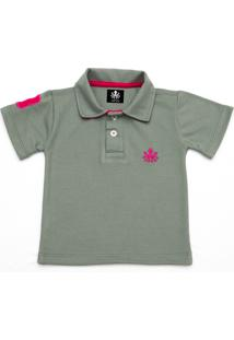 Camisa Polo Otto Cinza Com Bordado Pink
