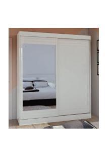 Guarda Roupa Solteiro C/ Espelho 2 Portas 2 Gavetas Prestige Móveis Lopas Branco