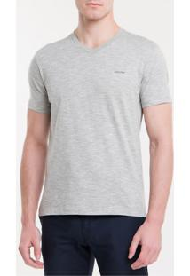 Camiseta Slim Flamê Gola V Calvin Klein - Mescla - P